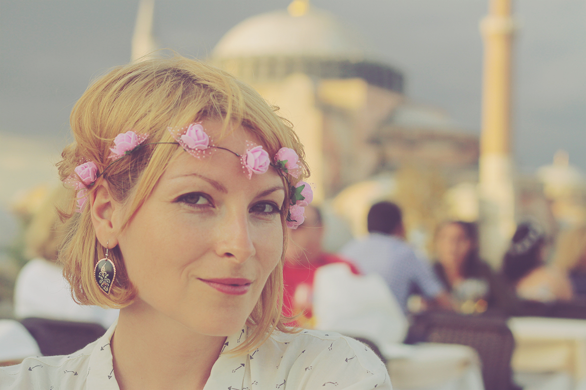istanbul_floral headband and turkish earrings