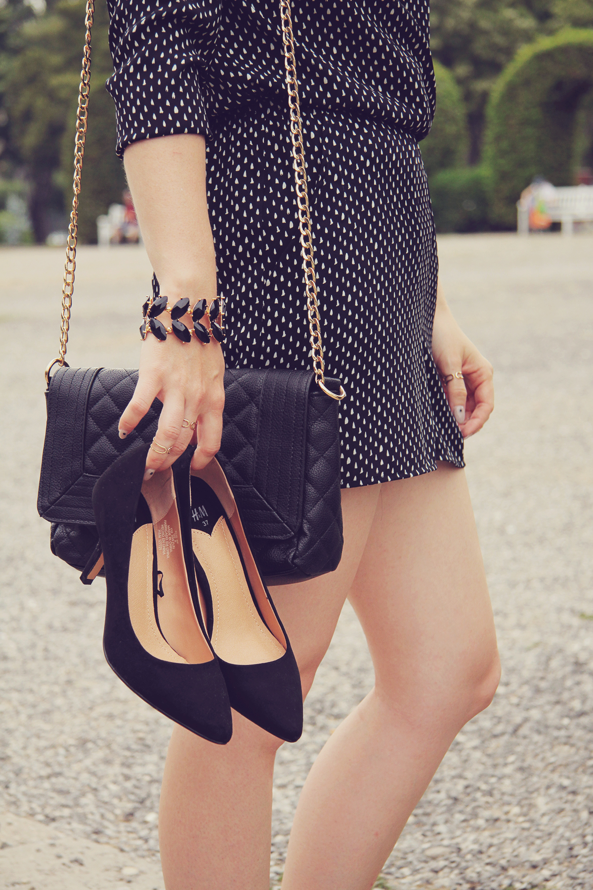 black pumps and accessories