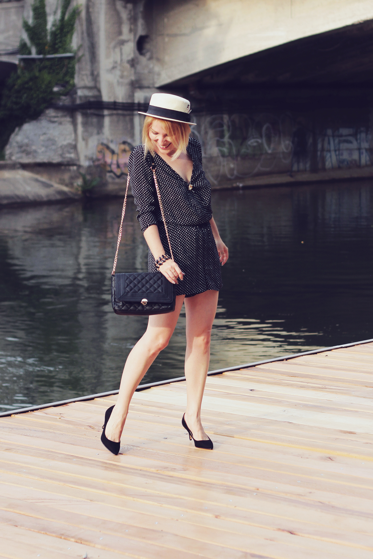 straw boater hat and romper