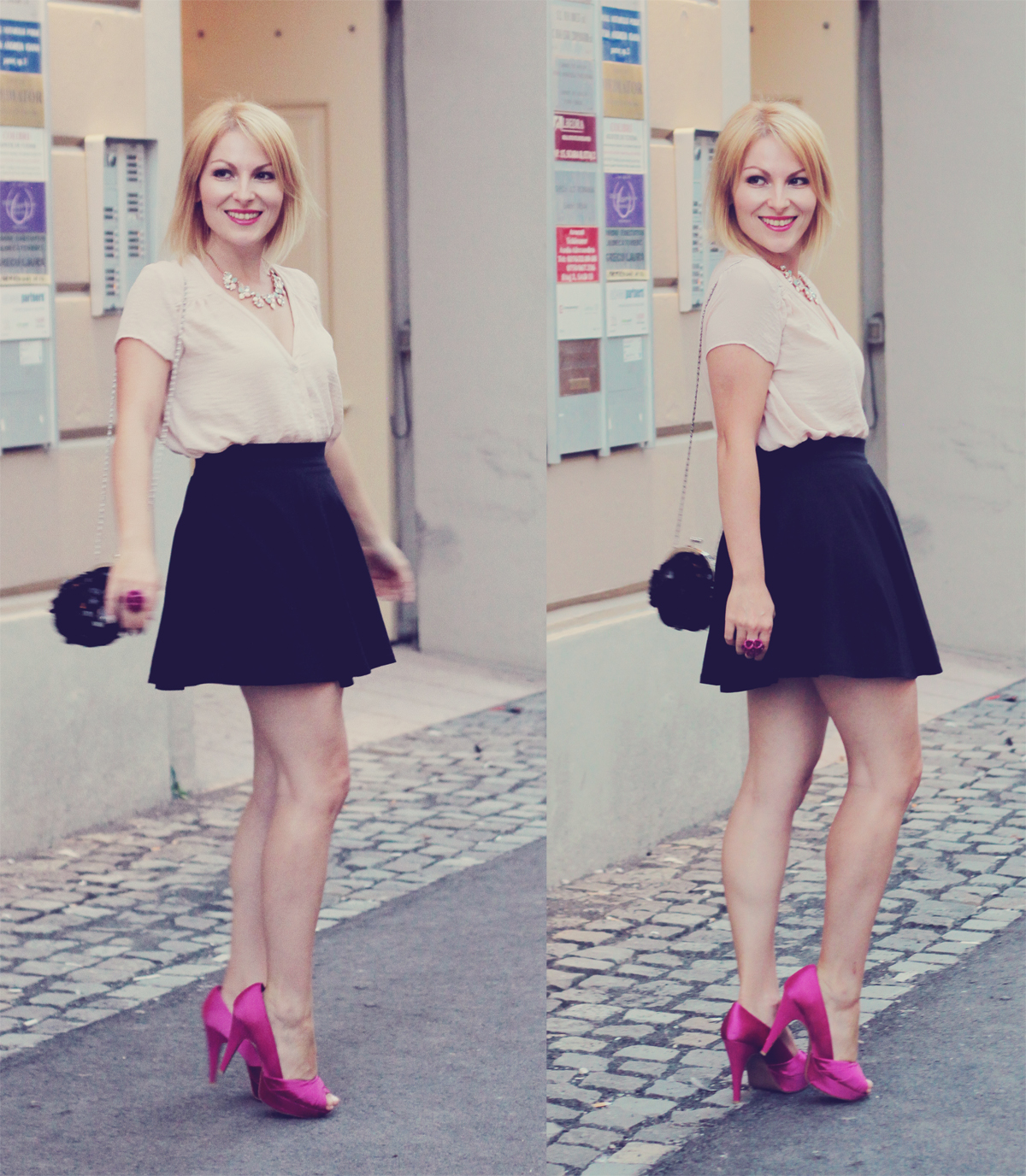pink pumps_a-line_black_skirt_and_gliterry_purse