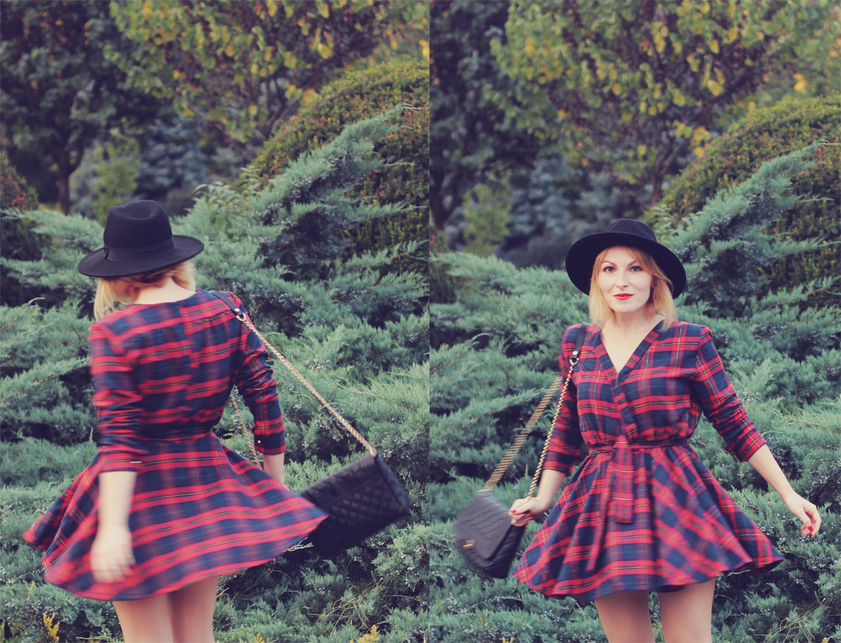 fall outfit the tartan dress and black hat