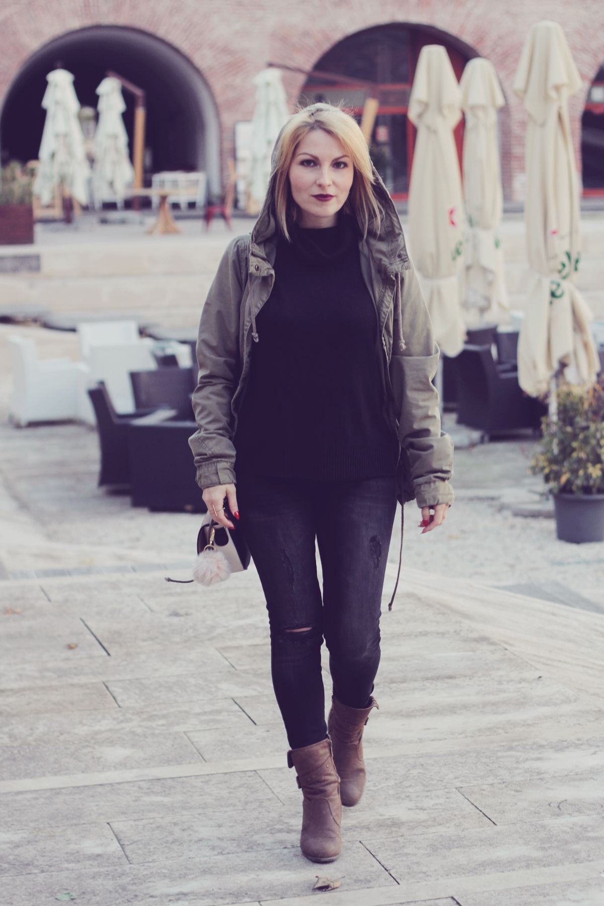 hooded parka and jeans