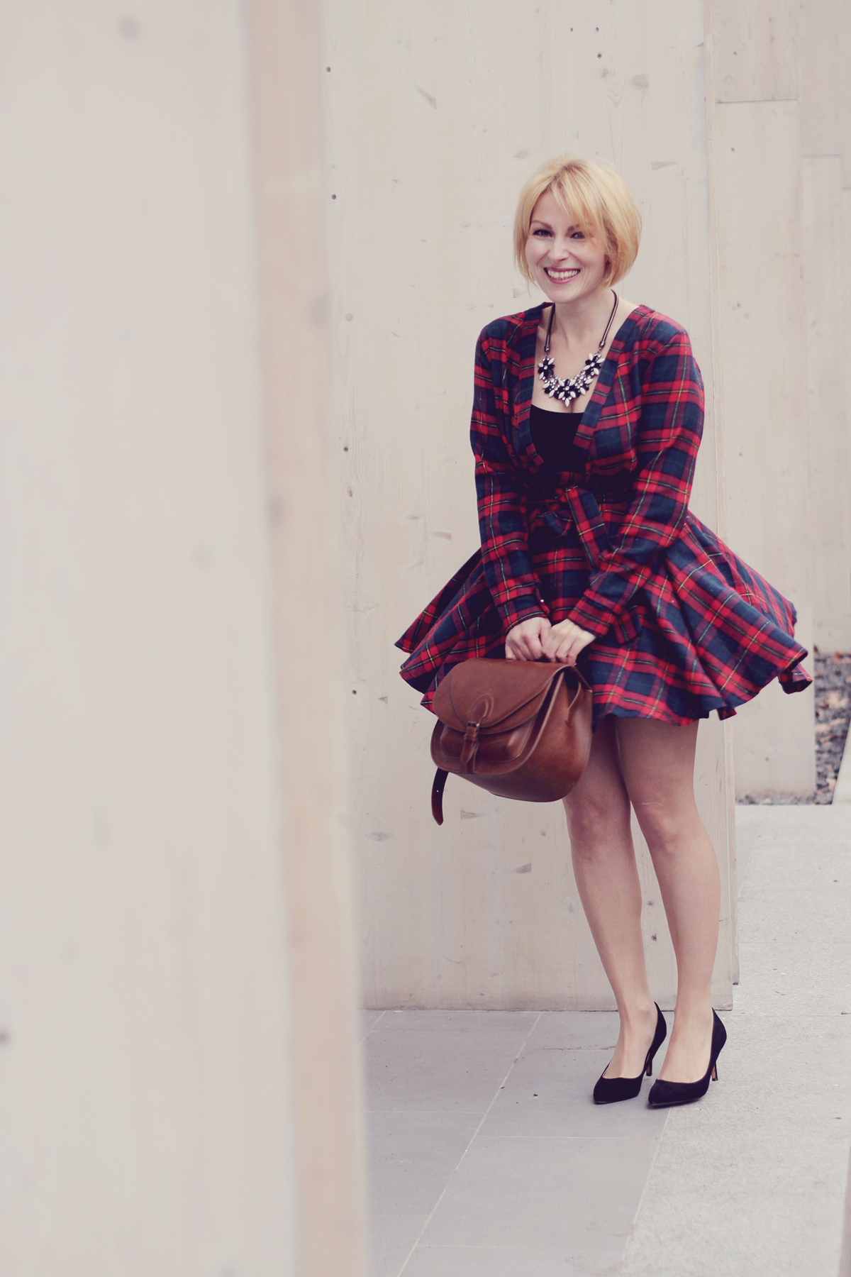 black heels and tartan dress