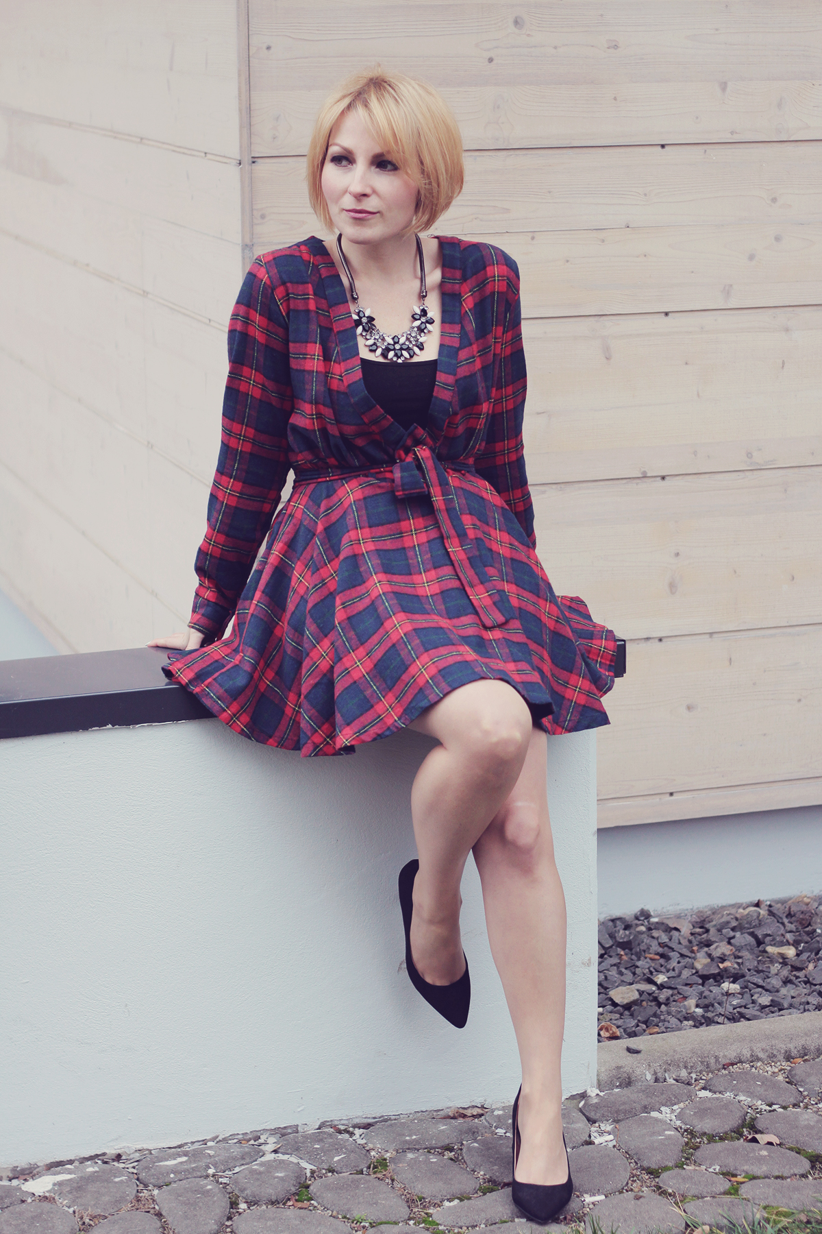 tartan dress and rhinestone necklace