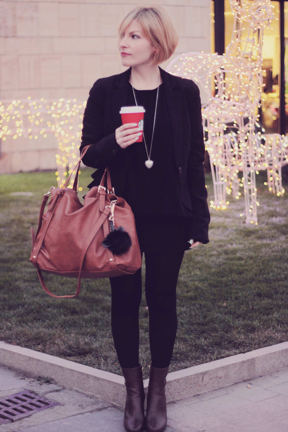 brown big tote bag and ankle boots