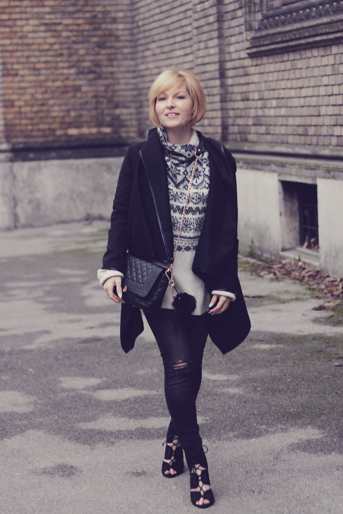 christmas winter jumper with heels and black coat