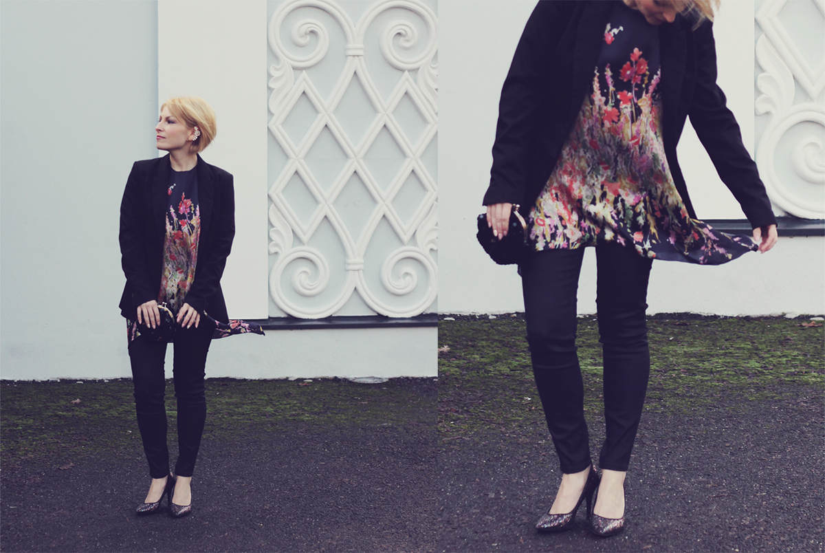 floral silk blouse and black blazer