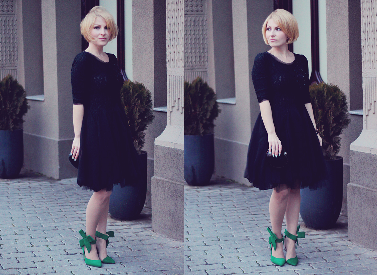holiday look-black dress with big bow high heel stilettos