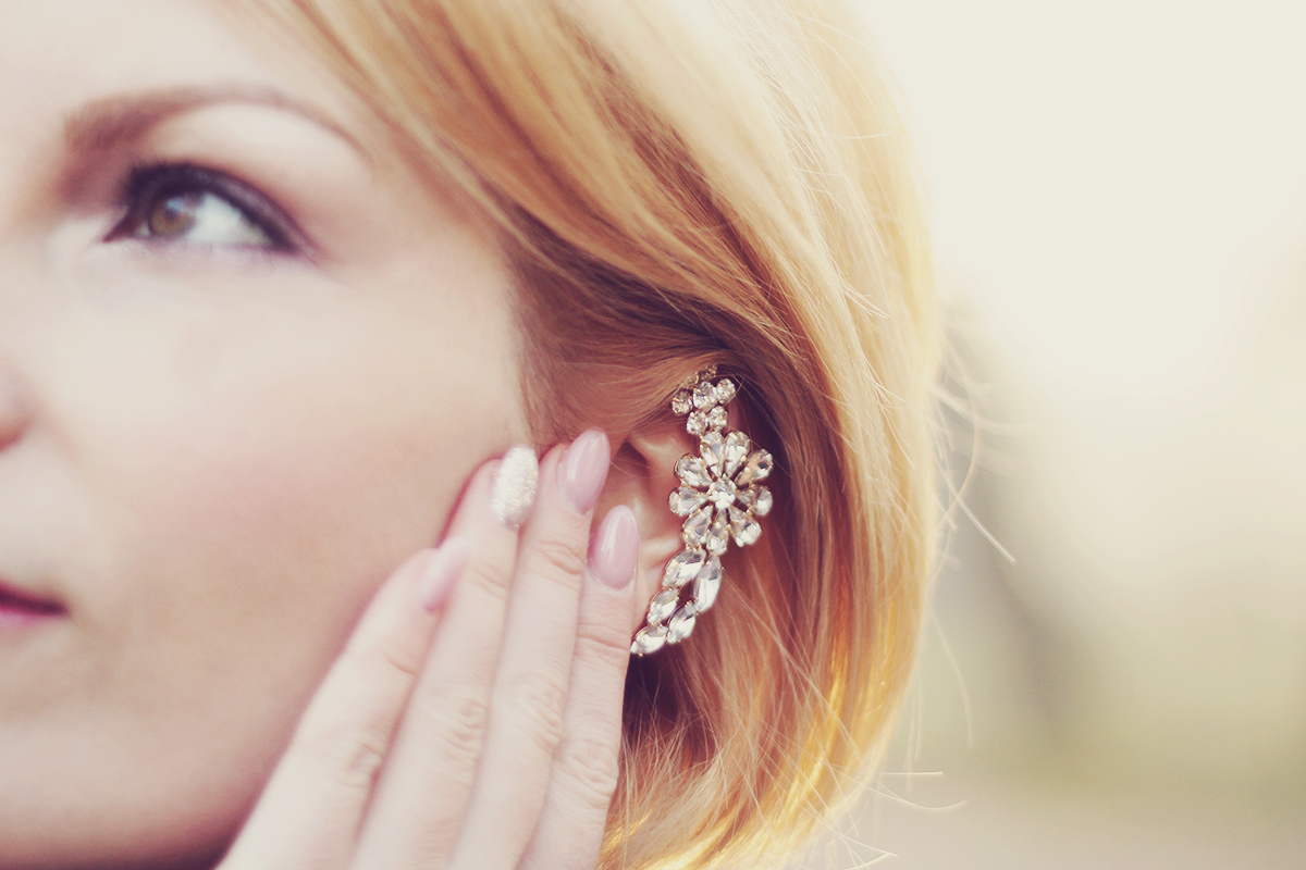 nude nails and crystal ear cuff