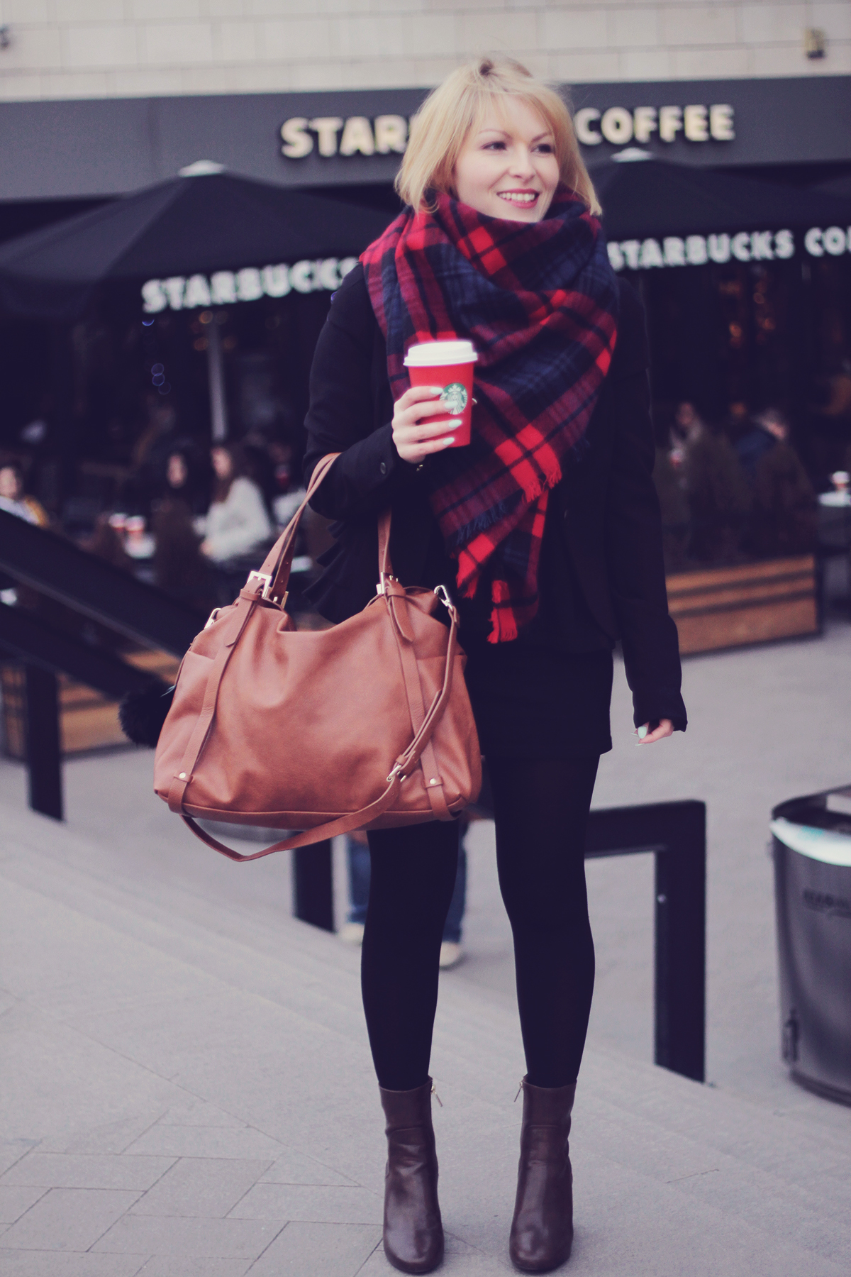 the tartan scarf and brown tote bag