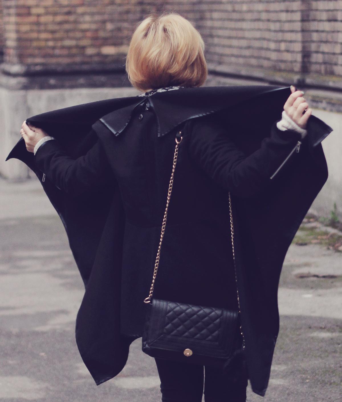 winter asymmetric black coat