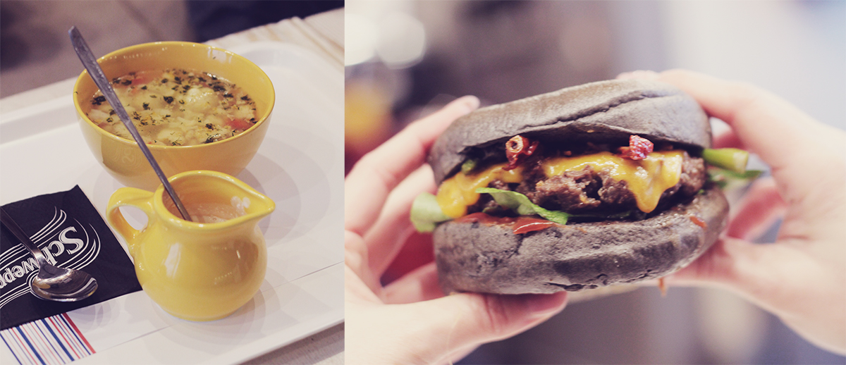 black burger and soup
