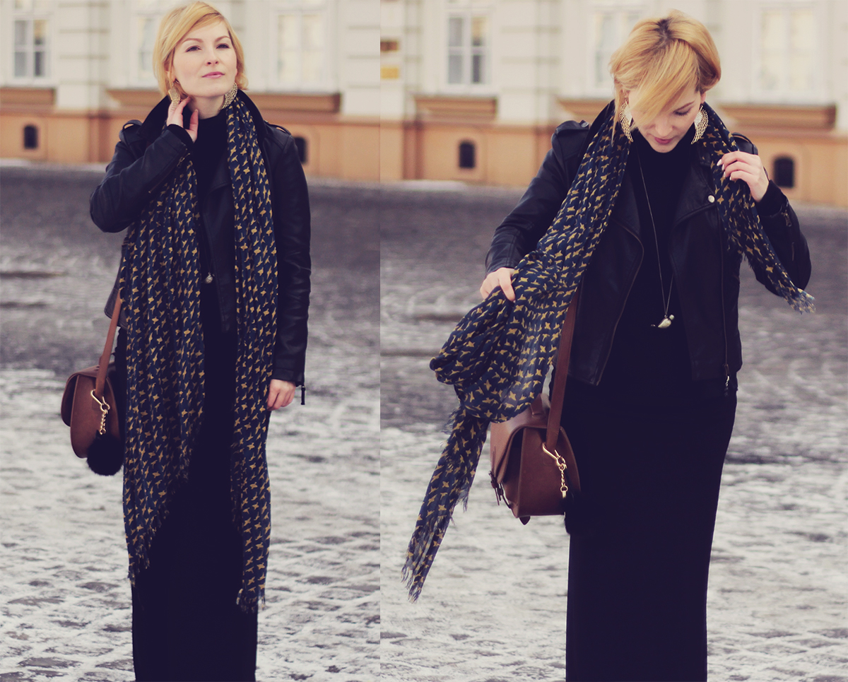black skirt and long pattern scarf