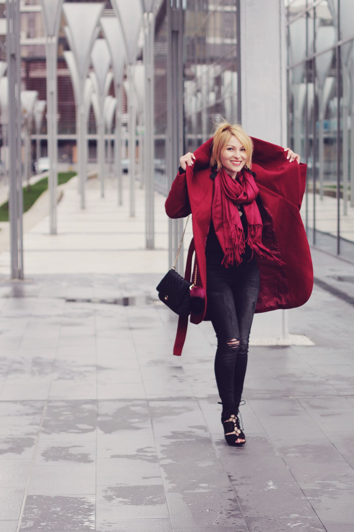 burgundy coat and scarf with jeand and high heeled sandals