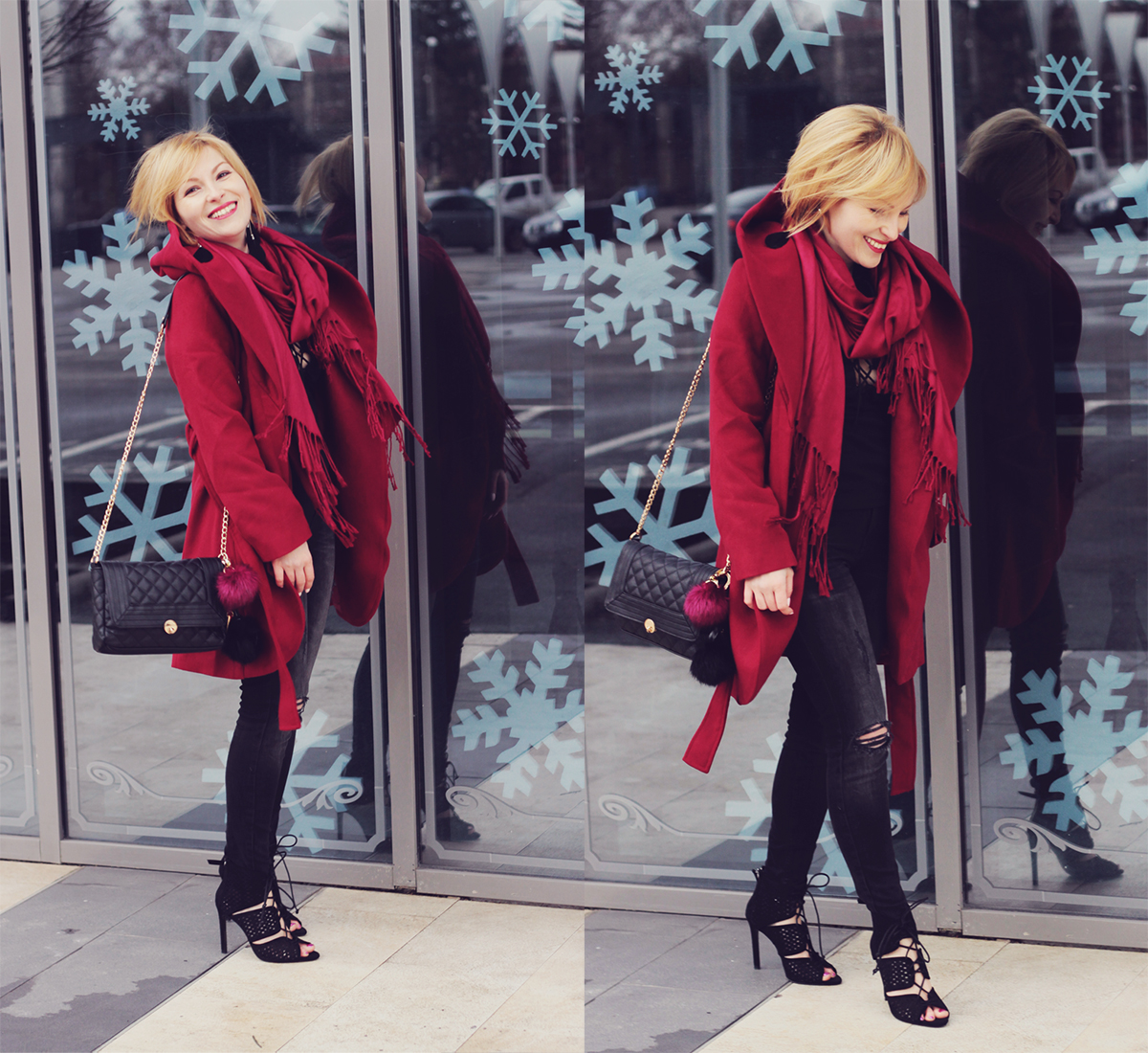 burgundy coat with scarf jeans and heels