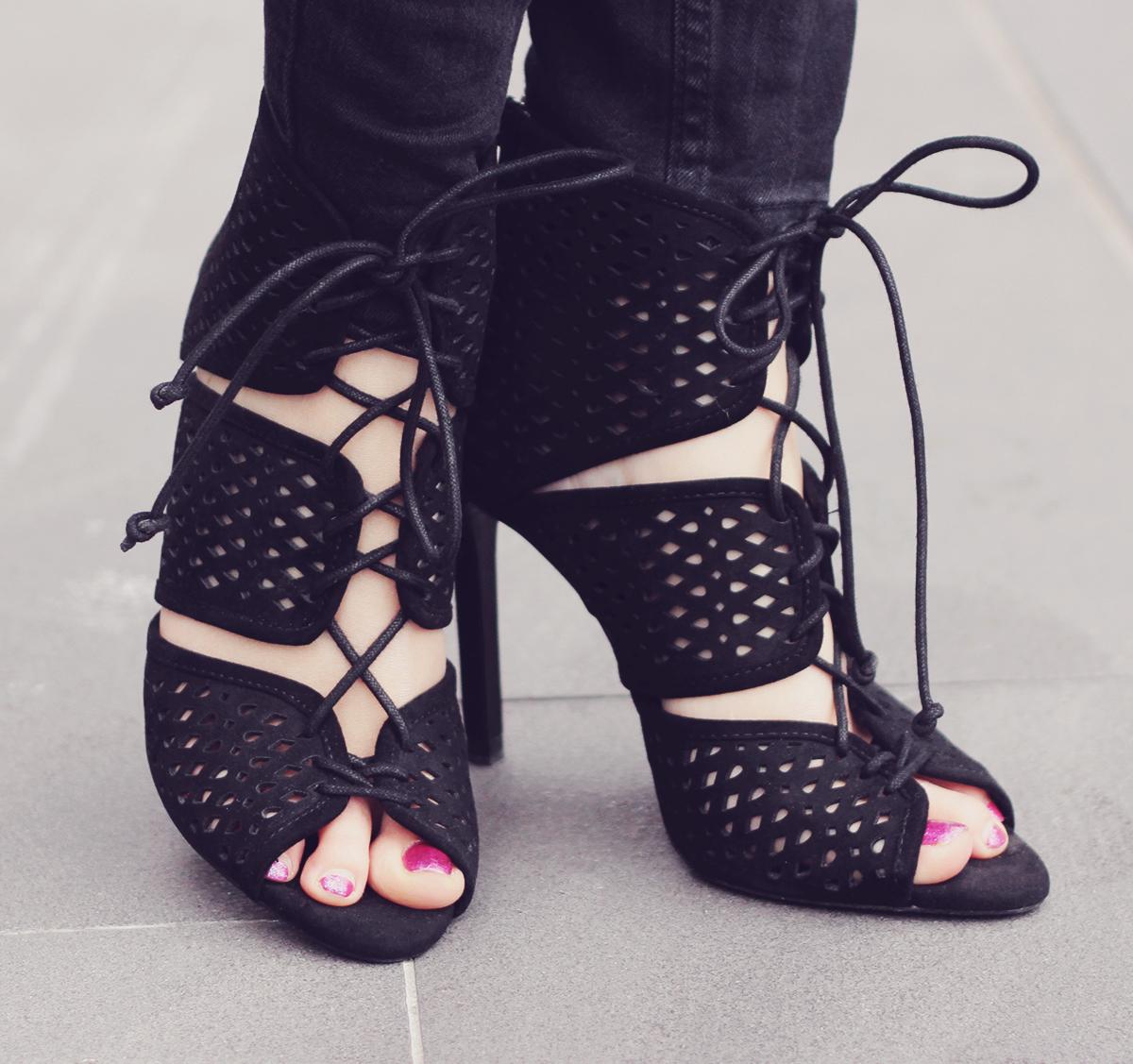 cut high heeled sandals