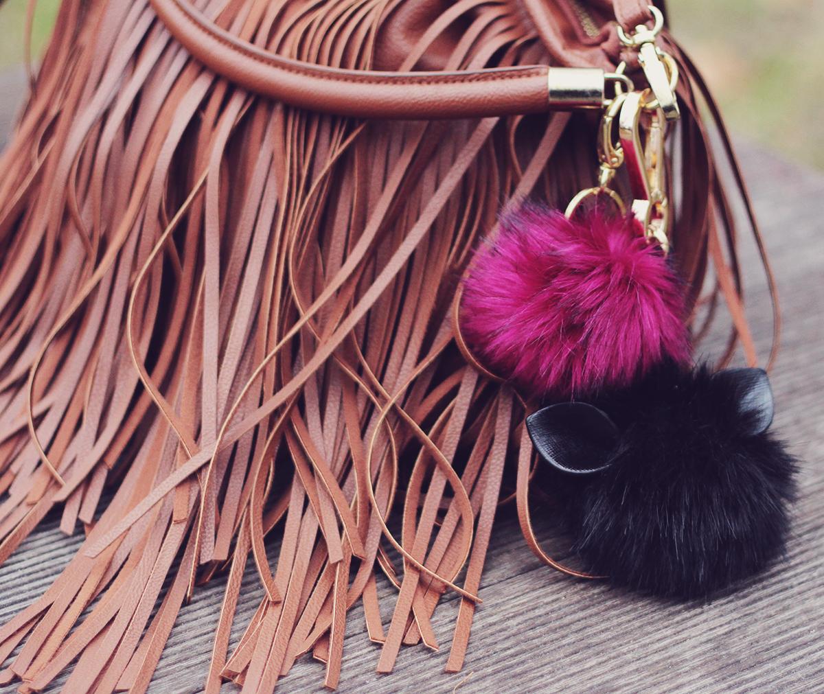 fringe bag and pompoms