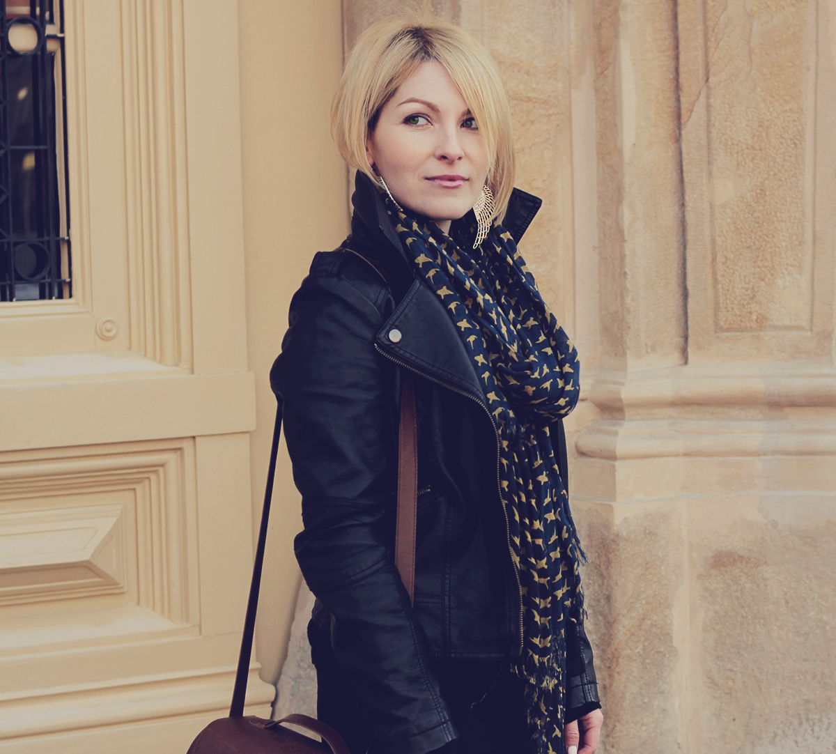 leather jacket and pattern scarf