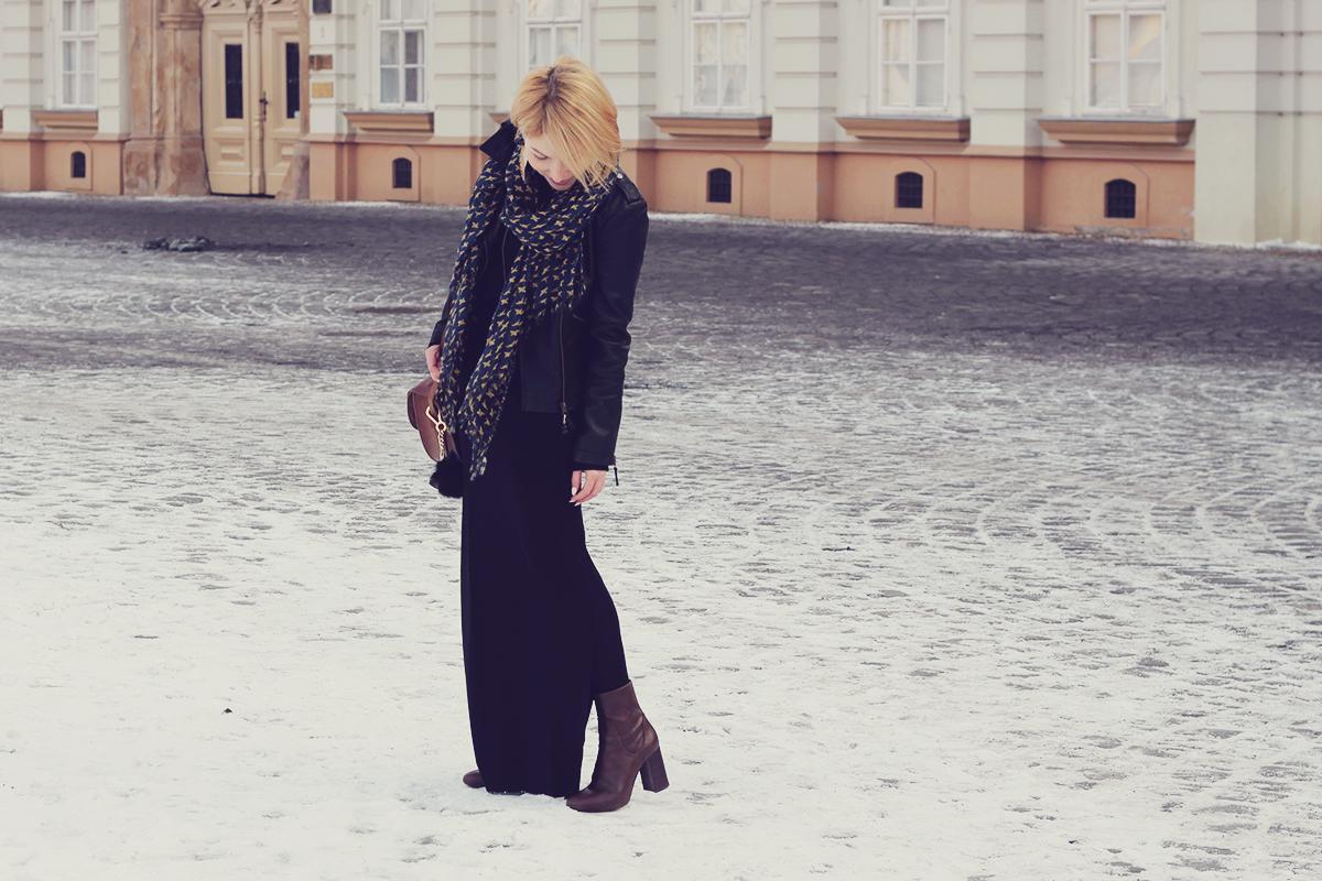 long black skirt and black leather jacket