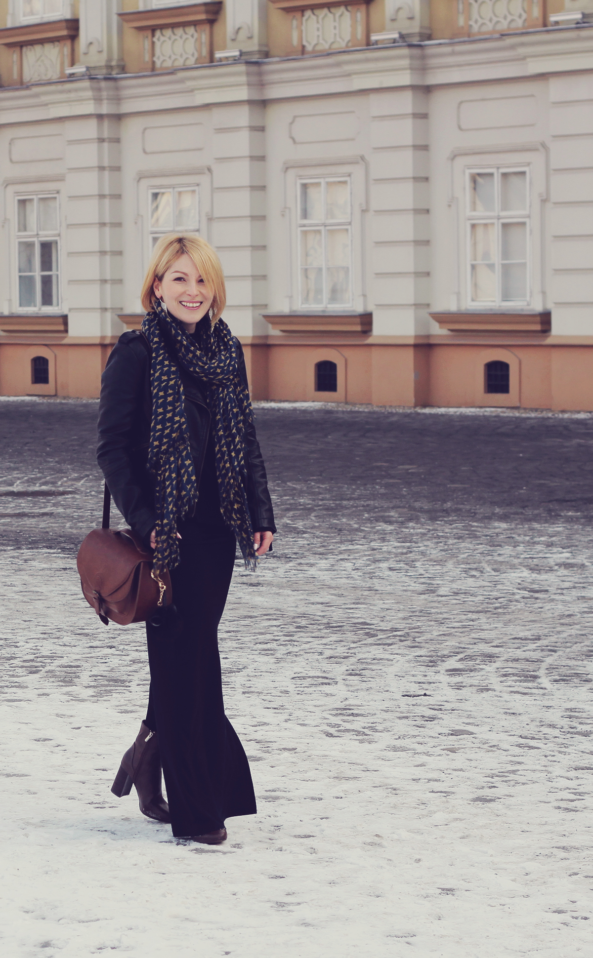 long black skirt and boots