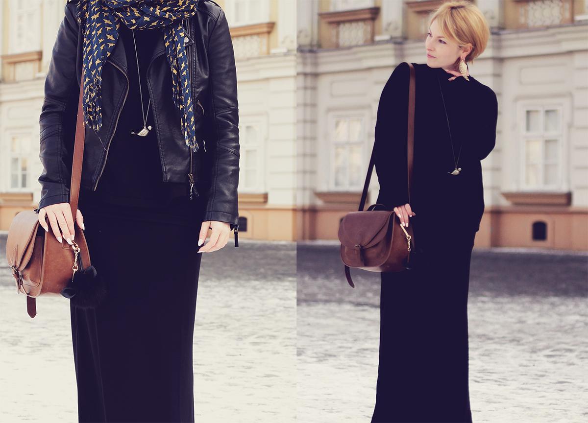 long black skirt and leather jacket with shoulder bag