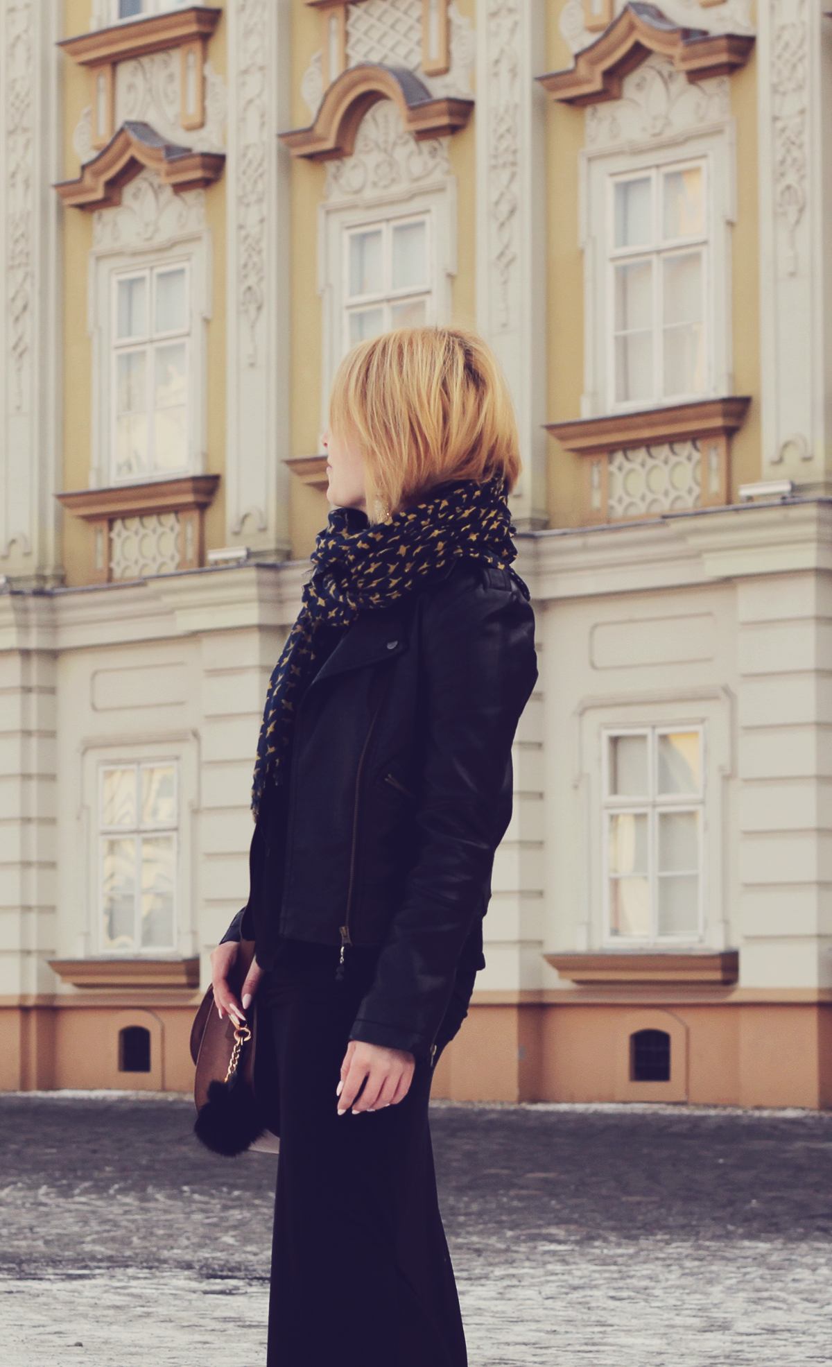 long black skirt and leather jacket