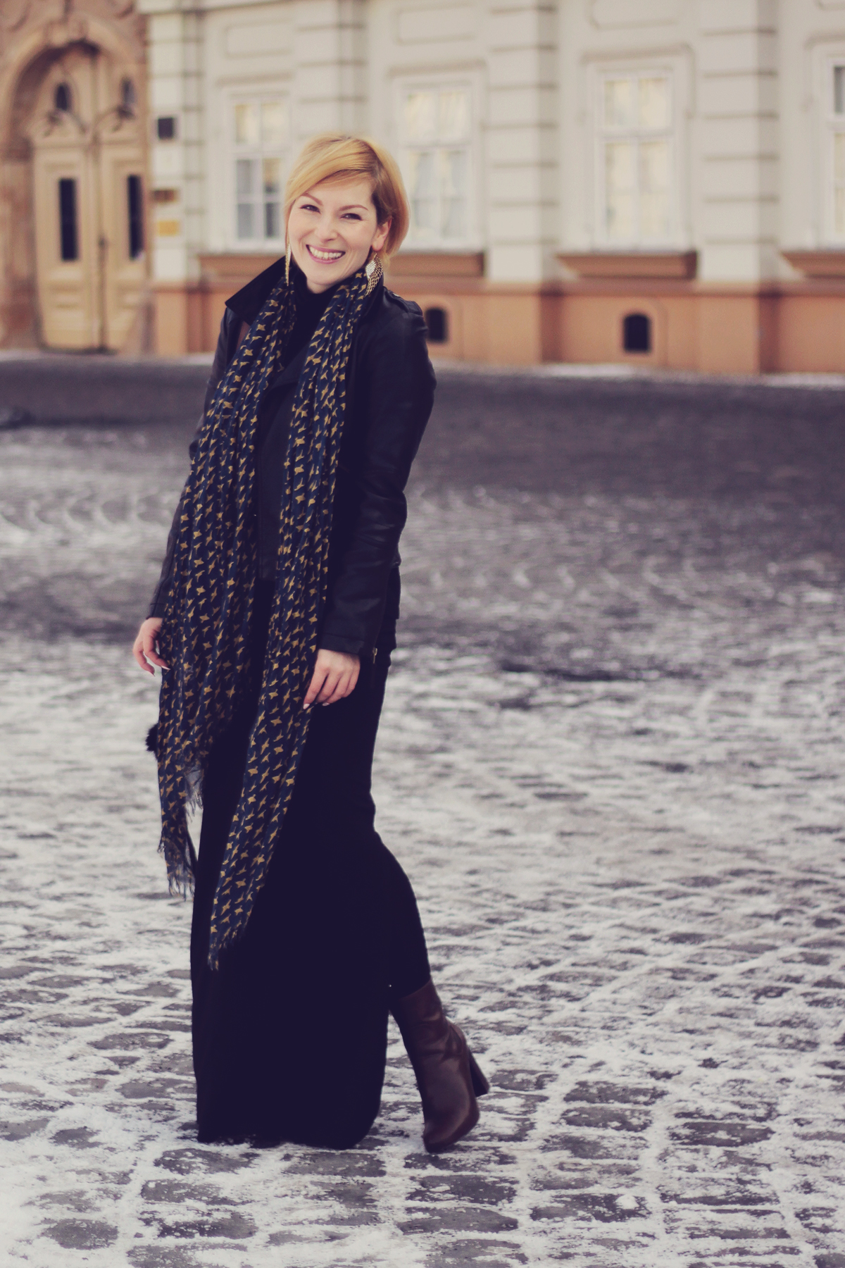 long black skirt and scarf