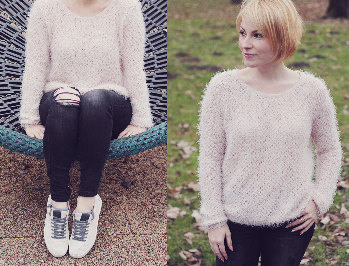 sporty look - the fluffy jumper and plimsolls