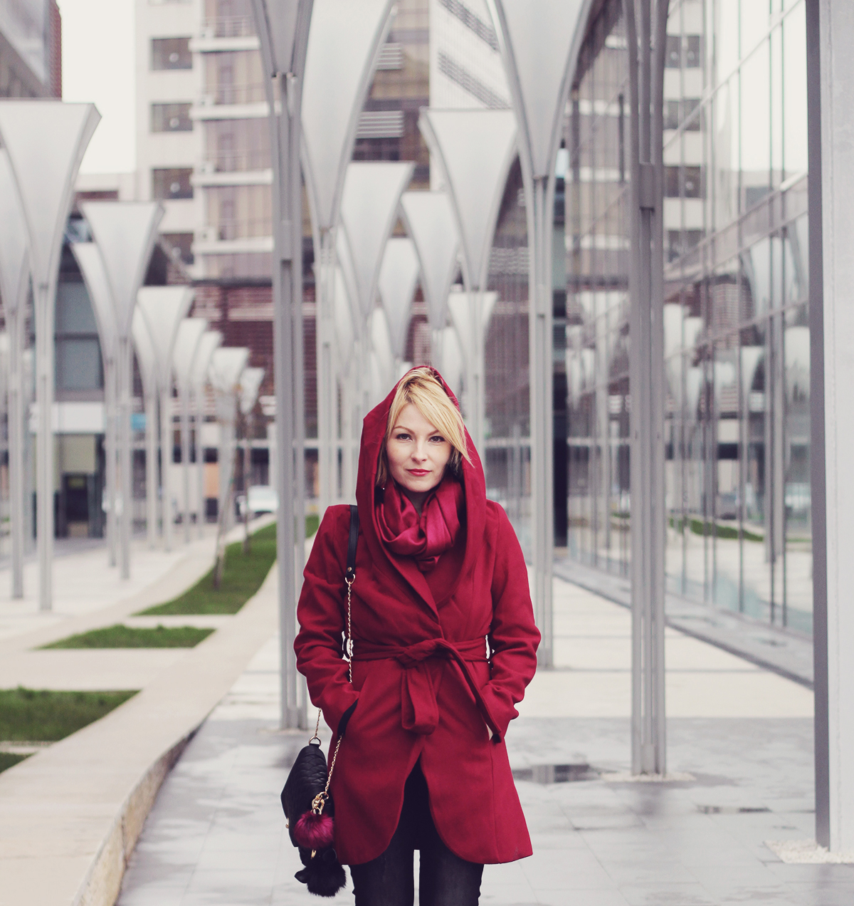 the burgundy coat and scarf