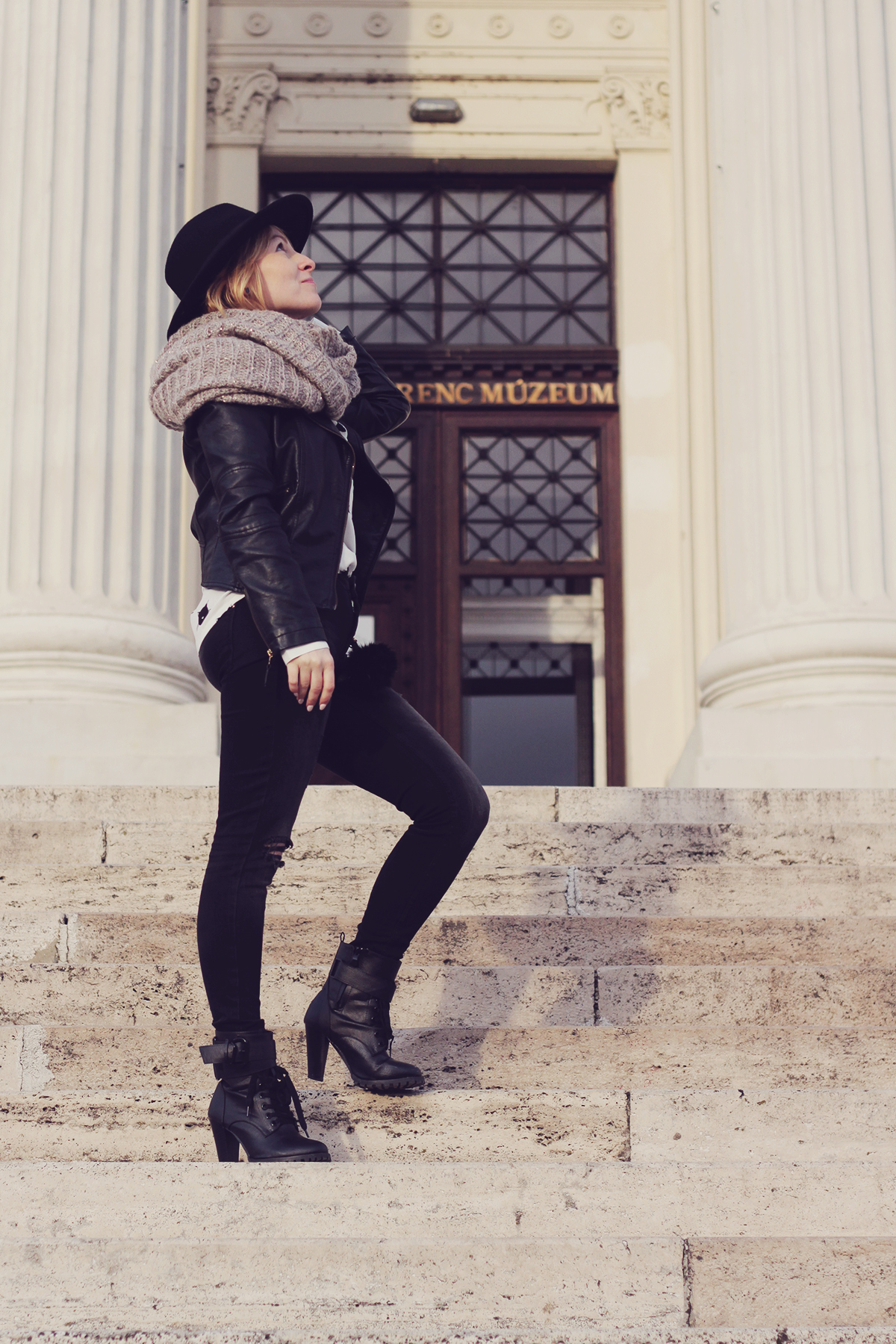 black faux leather jacket and boots - szeged hungary