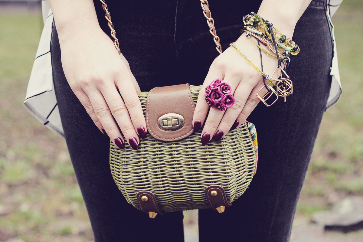 green purse and black cherry nails