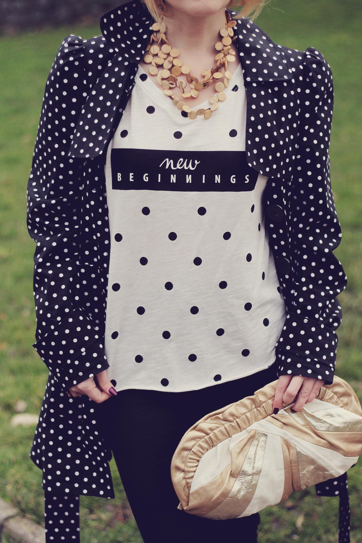 new beginnings polka dot t-shirt
