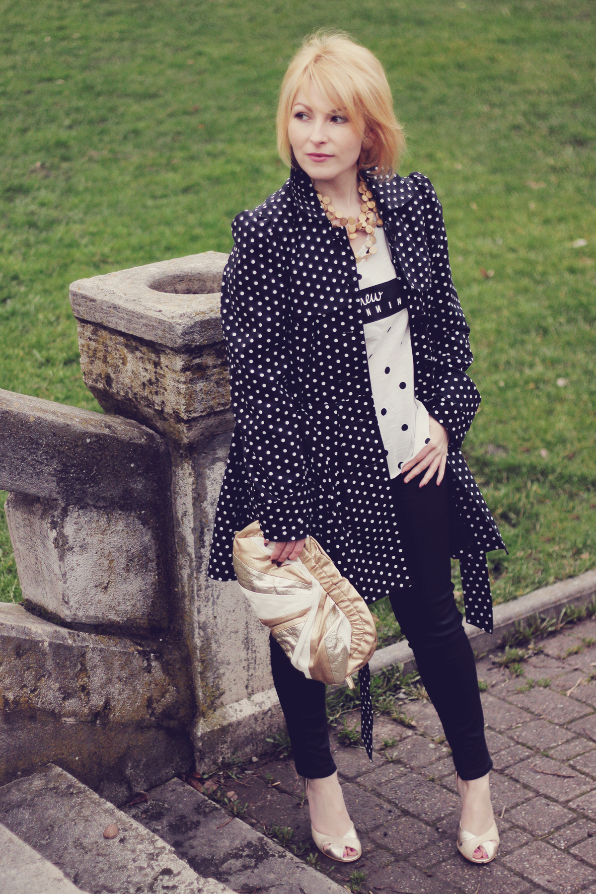 polka dots and golden accents look
