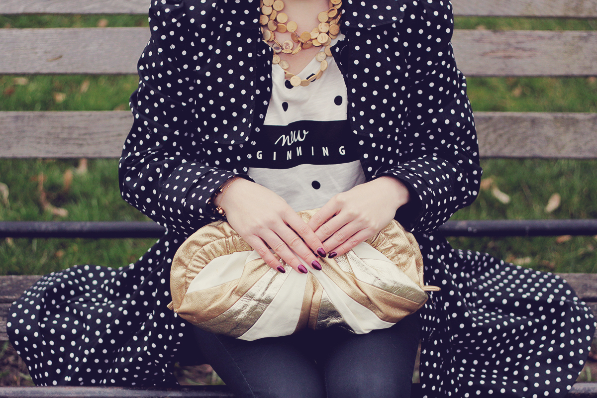 polka dots and golden clutch