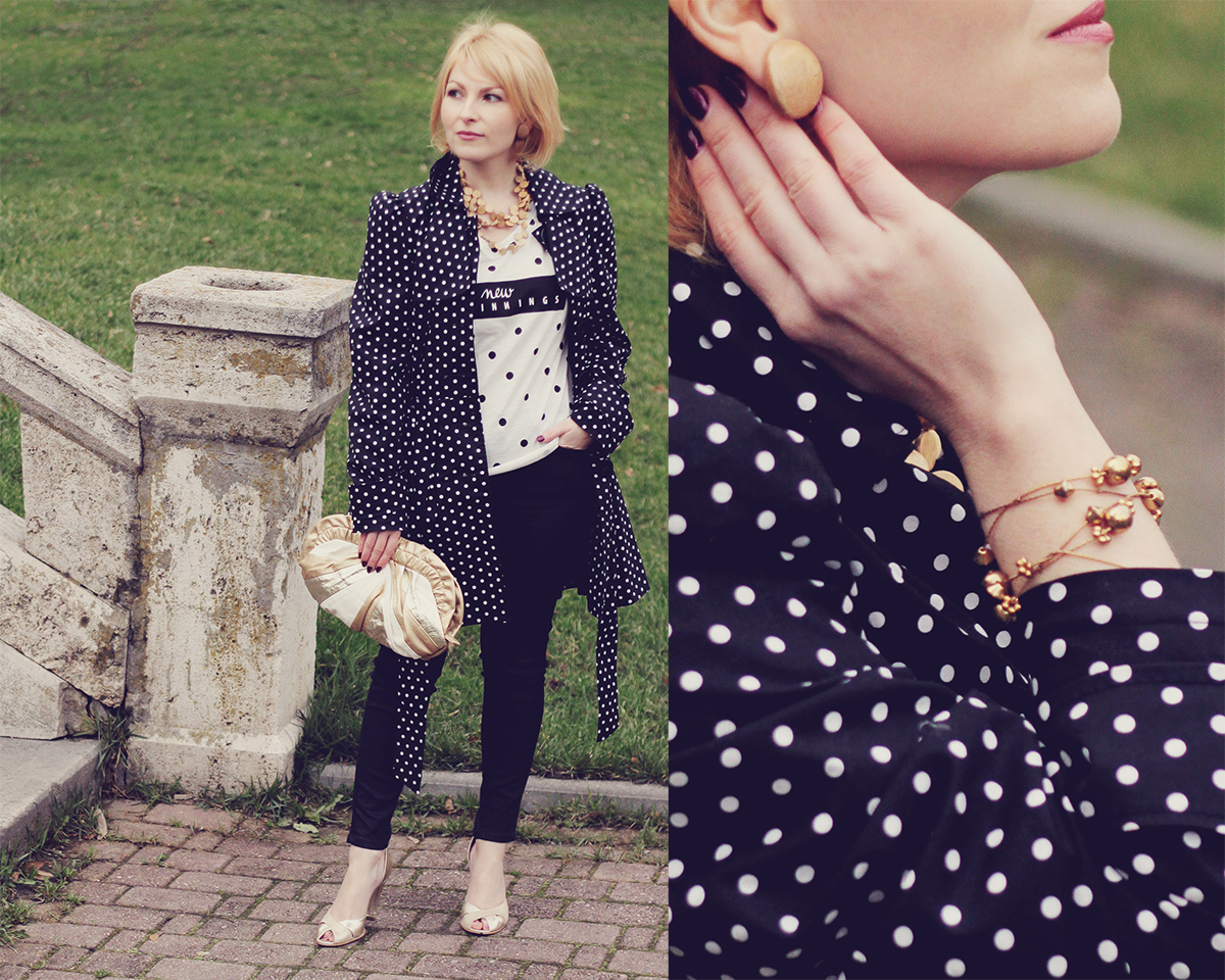 polks dots and golden and nude accents