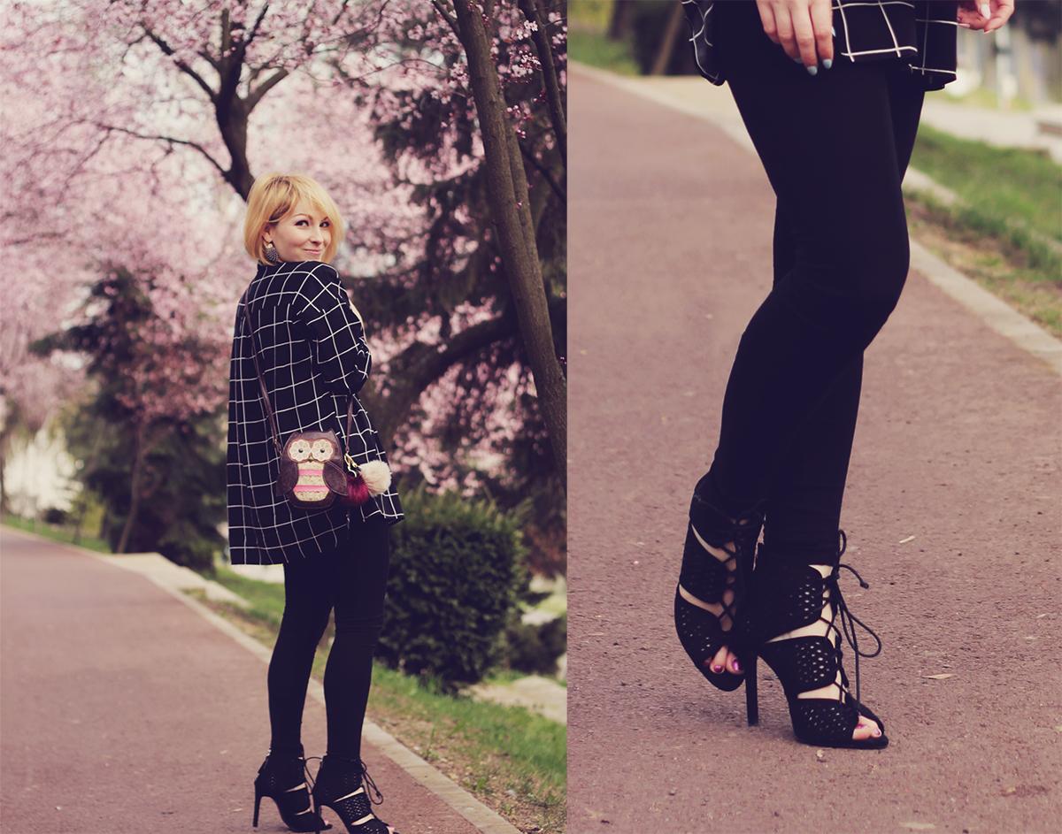 black cut high-heeled sandals
