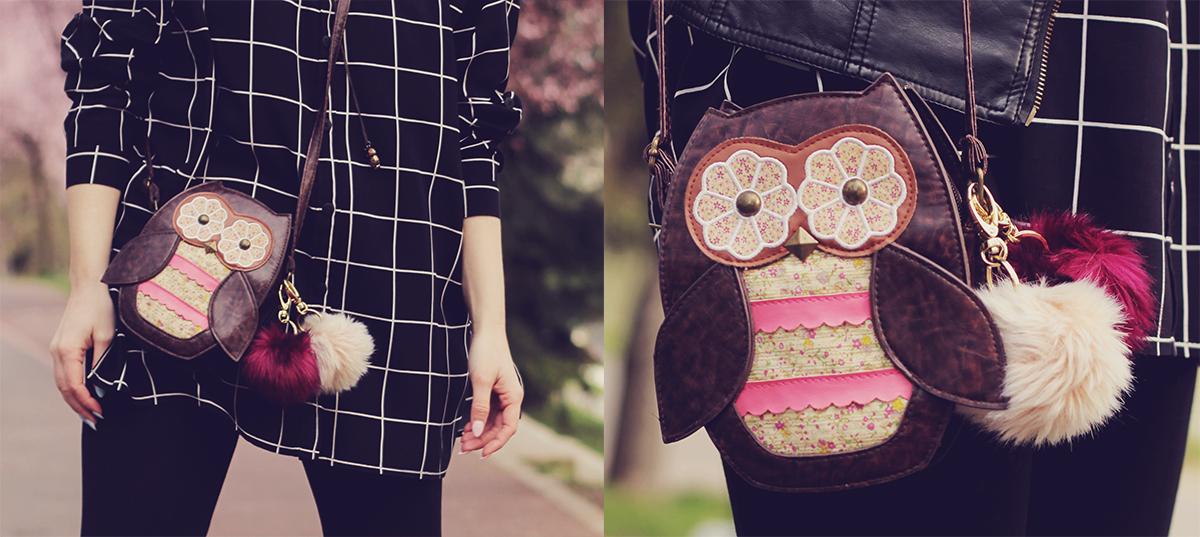 cute owl purse with pom-poms