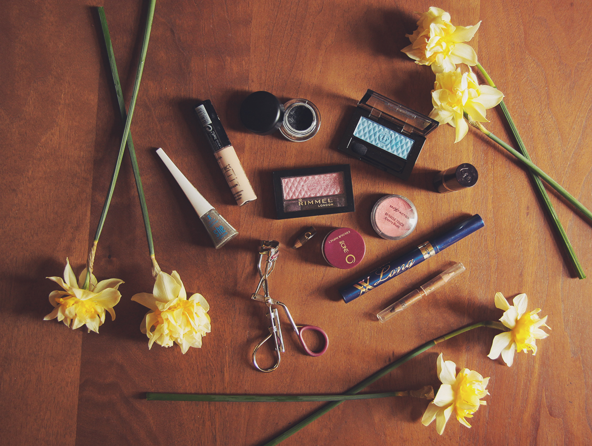 make-up products with daffodils