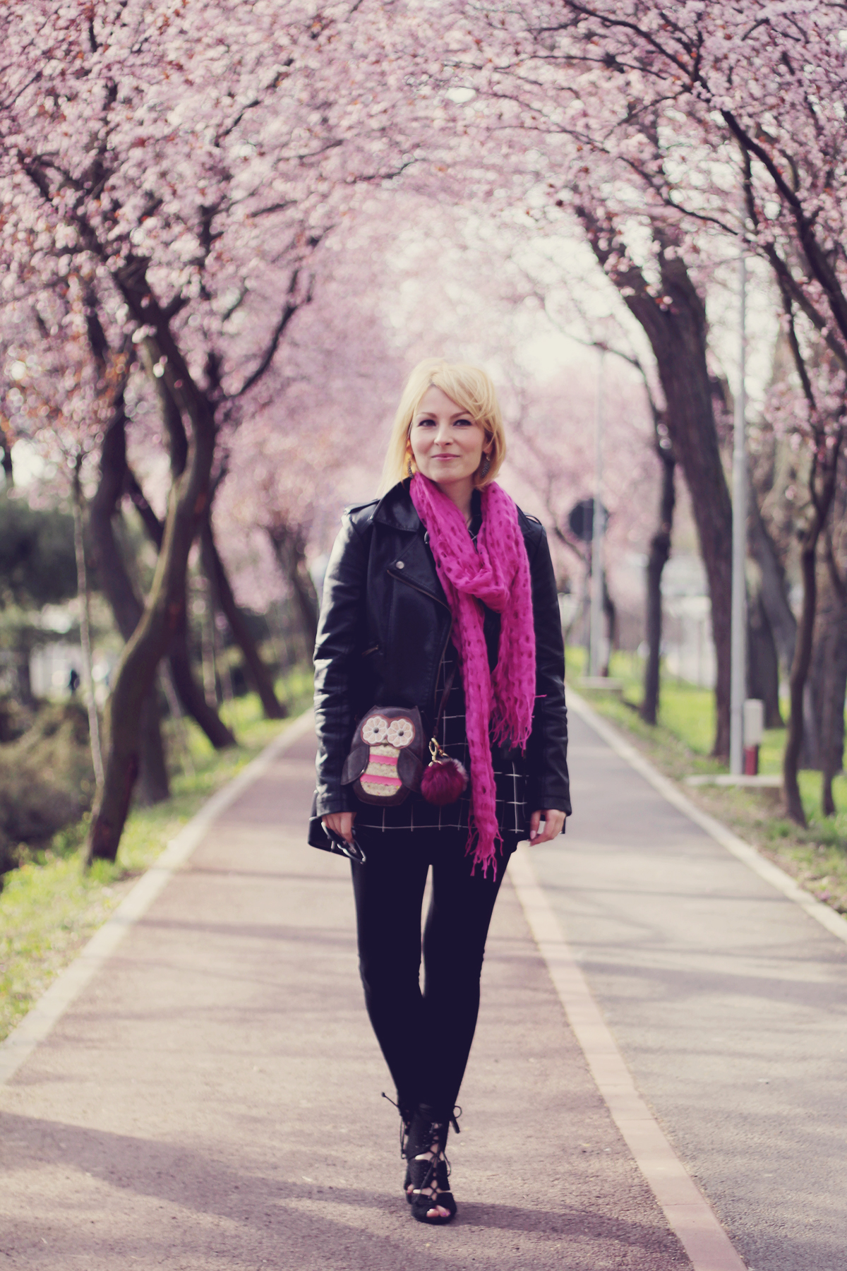pink scarf and owl purse