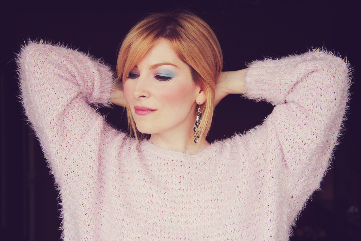 rose quartz and serenity make-up with fluffy pink jumper
