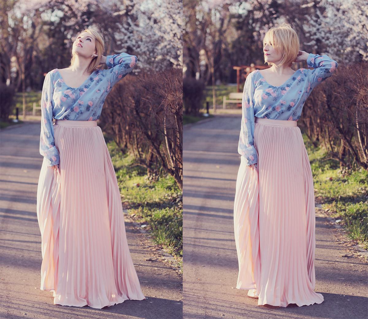 rose quartz and serenity top and rose quartz pleated maxi skirt