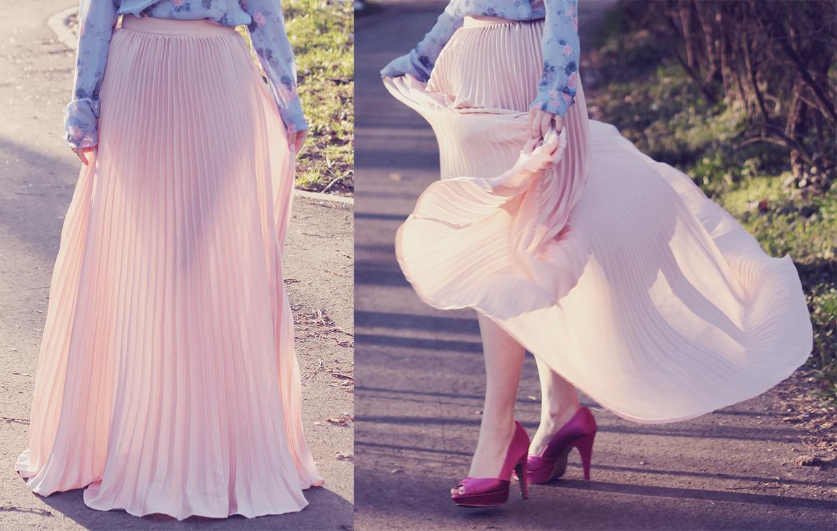 rose quartz pleated maxi skirt and fuchsia peep-toe pumps