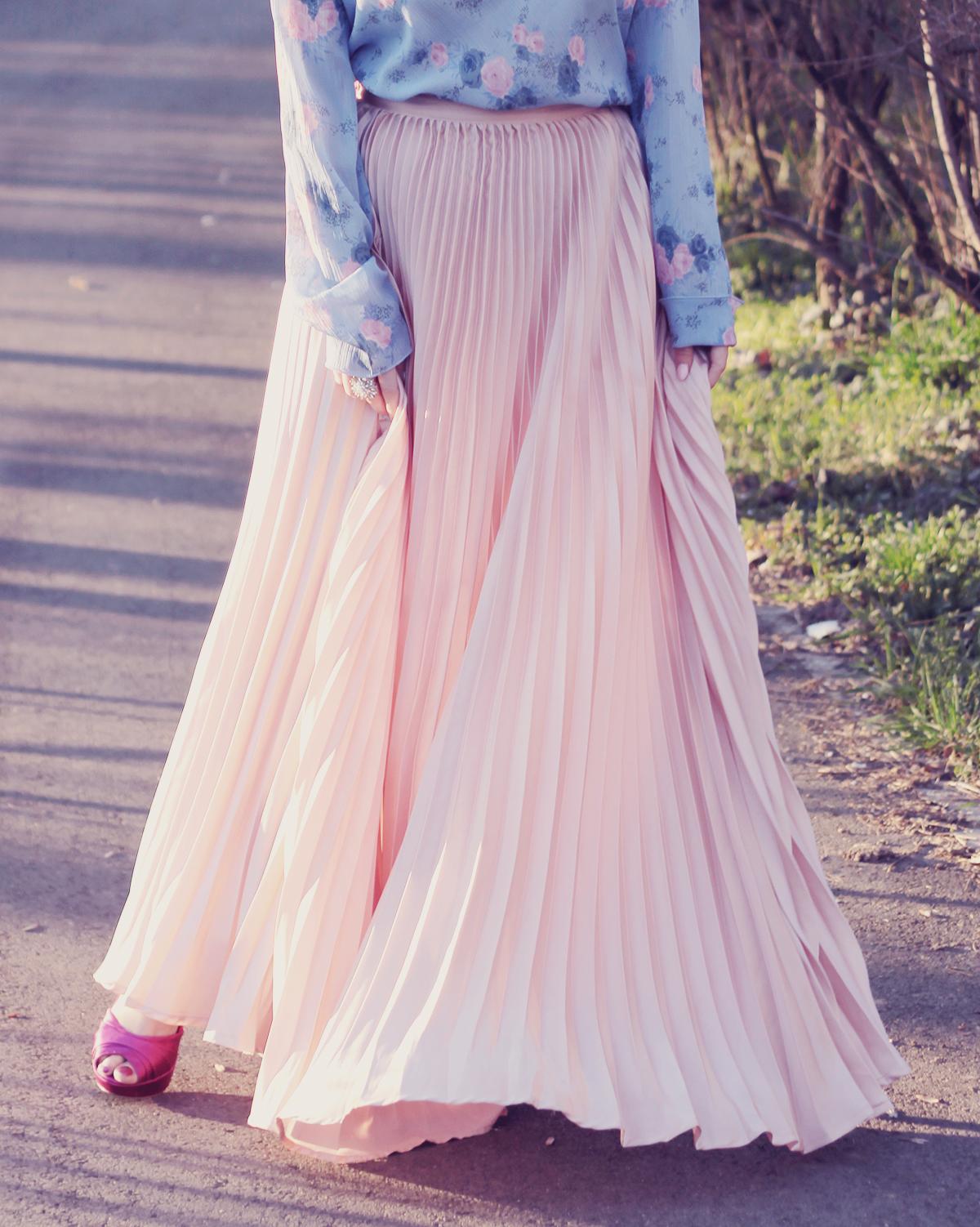 rose quartz pleated maxi skirt