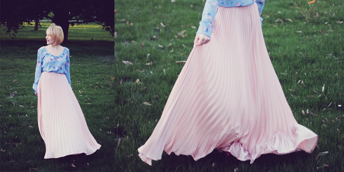 rose quartz pleated skirt