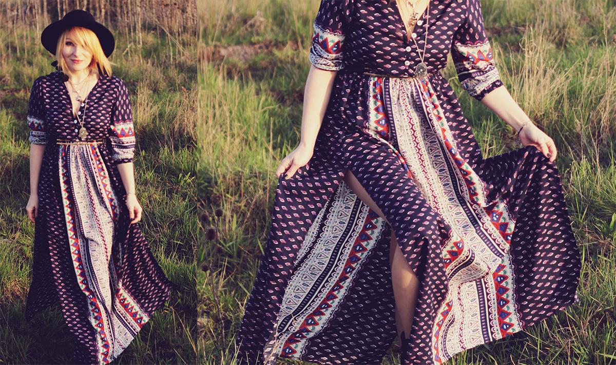 festival fashion - maxi high slit pattern dress
