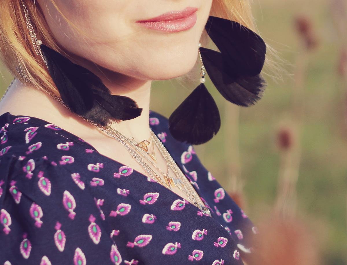 festival look - feather earrings