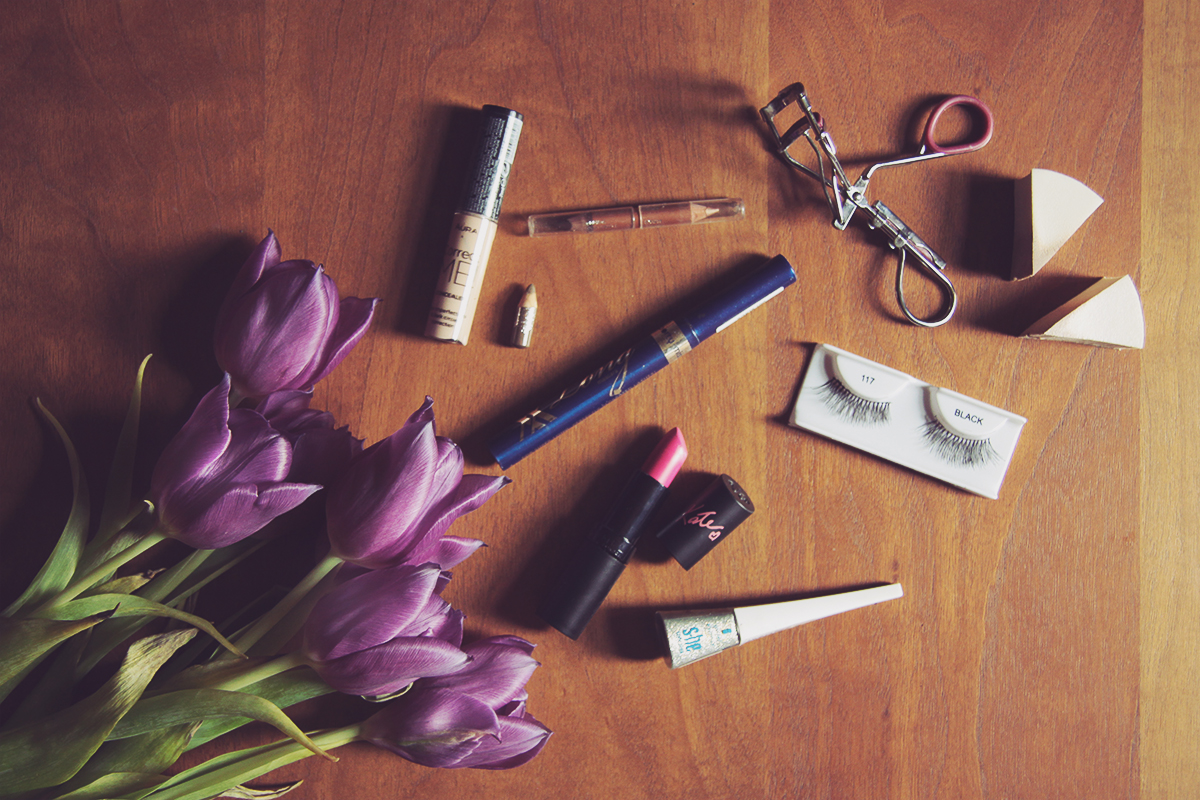 make-up products and tulips