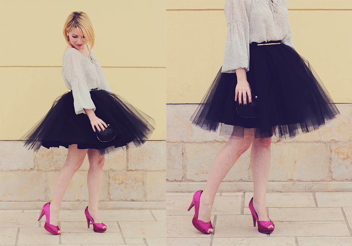 the black tulle skirt and pink pumps