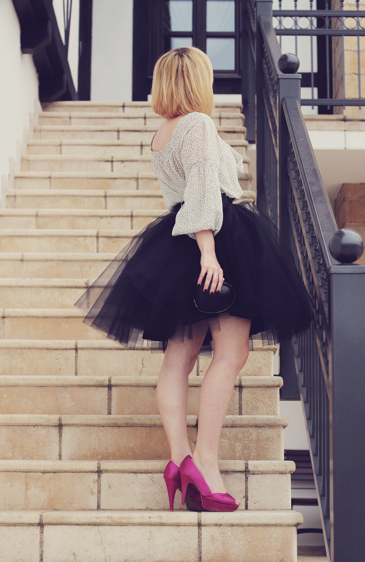 the black tulle skirt and white chemise top