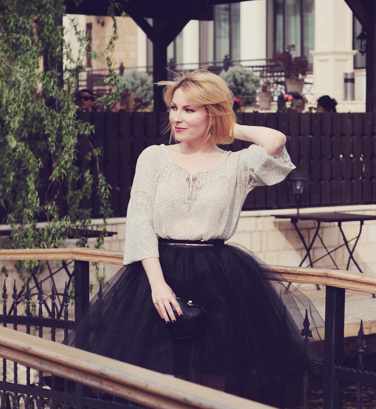the black tulle skirt